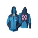 Classic Character Cosplay Costume 3D Pattern Blue Long Sleeve Zip Up Casual Hoodie