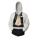 Mens Popular 3D Printed Long Sleeve Zip Placket White and Black Drawstring Hoodie