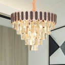 Tiered Crystal Chandelier Lighting Contemporary 9/16 Lights Gold Hanging Lamp Kit for Living Room