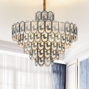 Round Ceiling Chandelier Contemporary Crystal 12/16 Lights Nickel Pendant Light Fixture