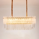 Rectangle Island Lighting Contemporary Clear Crystal 9 Lights Hanging Light Fixture for Living Room