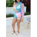 Summer Chic Contrast Panel Long Sleeve Knotted Crop Top with Shorts Sheer Organza Co-ords