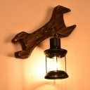 Lantern Wall Hanging Light Country Style Wood and Metal 1 Bulb Antique Bronze Wall Mounted Light with Tool Backplate