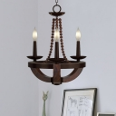 Candle Design Empire Chandelier Light Lodge Style Wooden 3 Lights Dining Room Suspension Lamp in Brown
