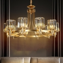 10 Lights Living Room Chandelier Pendant Modern Style Black/Brass Ceiling Lamp with Cylinder Crystal Shade
