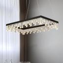 Rectangle Living Room Chandelier Lighting Fixture Crystal 16