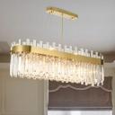 Crystal Oval Shaped Island Pendant Contemporary 23 Lights Brass Chandelier Light Fixture