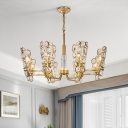 Mini Circle Chandelier Light Modern Style Crystal 6 Lights Living Room Ceiling Lamp in Brass
