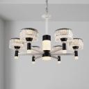 Black Drum Chandelier Lamp Modernism 6/8/12 Bulbs Crystal Suspended Lighting Fixture with Metal Arm