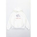 Lovely Cartoon Sheep Japanese Letter Printed Long Sleeve White Thick Baggy Hoodie