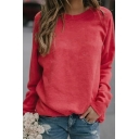 Elegant Women's Long Sleeve Crew Neck Plain Boxy Pullover Sweatshirt
