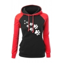 Casual Chic Long Sleeve Drawstring Cat Paw Print Contrasted Slim Fit Hoodie for Female