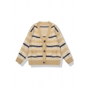 Chic Girls' Long Sleeve Deep V-Neck Zigzag Stripe Print Button Front Baggy Purl-Knit Cardigan