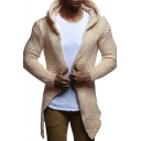 Winter Fashion Solid Color Long Sleeve Open Front Chunky Knit Tunic Cardigan with Hood