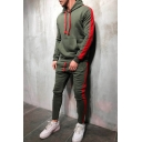 Mens Sport Fashion Striped Long Sleeve Pouch Pocket Drawstring Hoodie with Pants Set