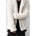 Mens Warm Solid Color Long Sleeve Open Front Loose Fuzzy Hoodie with Dual Pocket