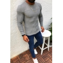 Mens Casual Street Plain Long Sleeve Crewneck Slim Fit Pullover Knit Sweater