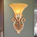 Double Swan Corridor Wall Sconce Fixture Vintage Resin 1 Light Gold Wall Lighting with Amber Glass Bell Shade