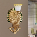Gold Peacock Sconce Light Fixture Modern Style Resin 1 Bulb Hotel Wall Lamp with Yellow Glass Petal Shade