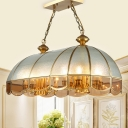 Bubble Glass Gold Island Lamp Scalloped 14 Lights Colonialism Pendant Light for Dining Room