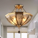 4-Light Opaline Glass Semi Flush Chandelier Traditionalism Brass Bowl Bedroom Ceiling Mount Light Fixture