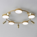 Circle Flush Mount Fixture Postmodern Metal 10 Lights Gold Ceiling Lamp for Living Room