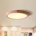 Disk Ceiling Mounted Light Macaron Metal Pink/Green/Yellow LED Flush Mount Lighting in Warm/White Light, 16