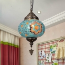 Oval Red/Green/Blue Glass Suspension Light Turkish Single Bulb Restaurant Pendant Lamp