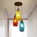 3 Lights Multi Light Pendant Bohemia Teardrop Red-Yellow-Blue Glass Suspension Lamp for Living Room
