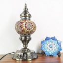 Bronze Elliptical Table Lamp Vintage Stained Glass Single Light Bedroom Nightstand Lamp