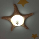 3 Bulbs Starfish Ceiling Mount Traditional Beige Frosted Glass Flush Light Fixture