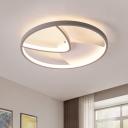 Geometric Flush Mount Lighting Simple Acrylic Gray 16.5