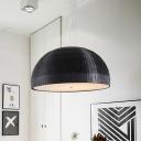 Domed Chandelier Light Fixture Contemporary Fabric 4 Lights Bedroom Pendant Lighting in Black