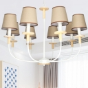 Shaded Hanging Chandelier Contemporary Metal 6/8 Lights Flaxen Ceiling Pendant Light for Living Room