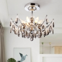 Droplet Chandelier Lighting Contemporary Faceted Crystal 6 Heads Chrome Ceiling Pendant Light