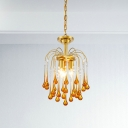 Traditionary Starburst Ceiling Chandelier Clear/Brown Crystal 3/5/6 Bulbs Pendant Light Fixture
