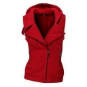 Trendy Ladies' Sleeveless Hooded Zipper Embellished Button Detail Plain Fitted Vest