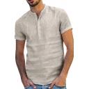 Mens Leisure Plain Short Sleeve Button Front Regular Fit Linen Shirt Top