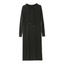 Simple Casual Ladies' Long Sleeve Hooded Drawstring Knit Plain Long Loose Shift Sweater Dress