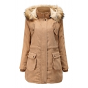 Casual Women's Long Sleeve Hooded Button Zip Front Flap Pockets Fluff Trim Corduroy Loose Plain Midi Parka Coat