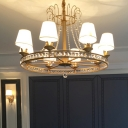 Antique Brass Wheel Chandelier Light Modernism 6 Heads Beveled Glass Crystal Pendant Lighting with Cone Fabric Shade