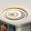 Circle Ring Acrylic Flush Light Modern Style LED Black Ceiling Mounted Fixture for Bedroom
