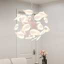 Leaf Shaped Chandelier Pendant Light Modern Acrylic LED White Hanging Lamp Kit for Bedroom