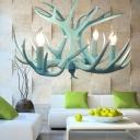 Blue 4/8 Heads Chandelier Lighting Cottage Resin Branch Hanging Light Fixture for Living Room