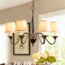Black Curved Arm Chandelier Lighting Modern Style 6/8 Lights Metal Ceiling Pendant Light with White Fabric Shade