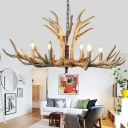 Candle Hanging Chandelier Traditional Resin 6/8 Heads Suspended Lighting Fixture in Brown