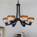 Dragonfly Chandelier Lighting 6 Heads Stained Art Glass Tiffany-Style Hanging Pendant Light in Black
