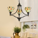 Domed Chandelier Lamp Tiffany Multicolored Stained Glass 3/5/6 Heads Black and Gold Suspension Light