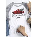 White Cozy Long Sleeve Round Neck MERRY CHRISTMAS Y'ALL Letter Truck Printed Loose Fit T-Shirt for Girls