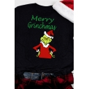 Street Black Short Sleeve Crew Neck Letter MERRY GRINCHMAS Grinch Printed Relaxed Fit T Shirt for Women